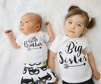 UK Infant Baby Little Brother Romper Big Sister T-shirt Match Clothes Outfit Set