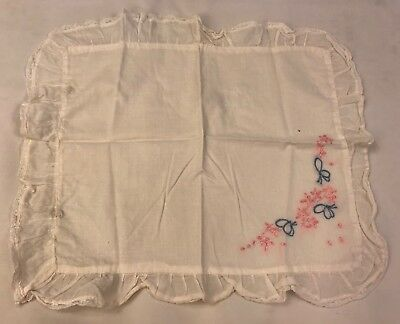 Vintage Baby Pillowcase Cover Pillow Hand Embroidered Ruffle Pink Blue