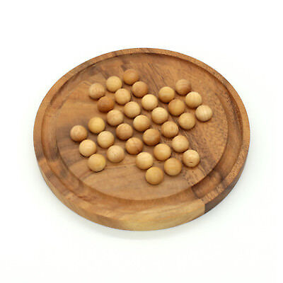 Mango Trees Brand Round Solitaire Game With Wood Marbles Handmade Classic Famil