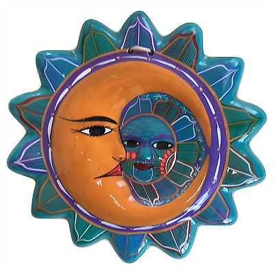 Multicolor Talavera Ceramic Sun and Moon Face - Hand Painted In Mexico