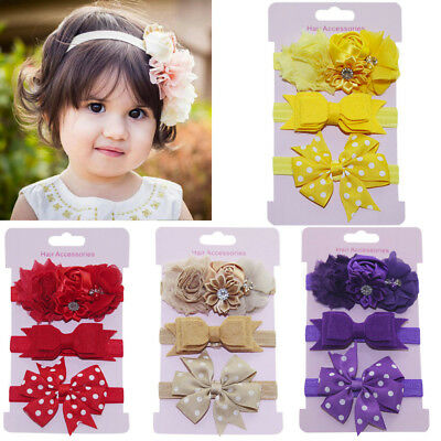 Fashion 3Pcs Kids Elastic Floral Headband Hair Girls baby Bowknot Hairband Set