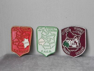 3  French Vintage PLAQUES TROPHY AWARD SIGNS DOGS excellent
