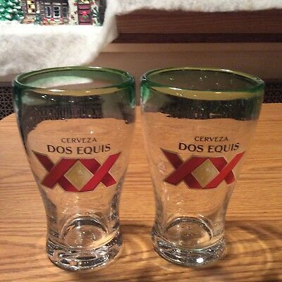 Set of 2 Dos Equis XX Hand Blown Mexican Beer Glass 16 oz-Awesome- man cave, bar