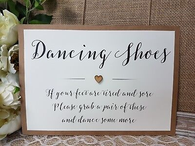 3c6438e7689b Dancing Shoes Rustic Wedding Sign Size A4 vintage craft brown script with  Heart