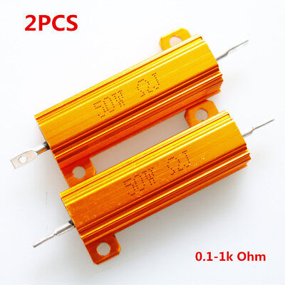 2Pc 50W Golden Aluminium Load Resistor Wirewound Various Values High Quality New