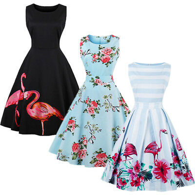 aafcb3027e USA Women Vintage Dress 50S 60S Swing Pinup Retro Casual Housewife Party  Ball