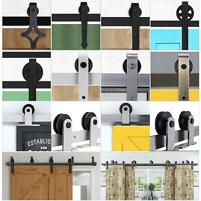2FT-10.8FT Sliding Barn Wood Door Hardware Closet Kit Single/Double/Bypass Doors