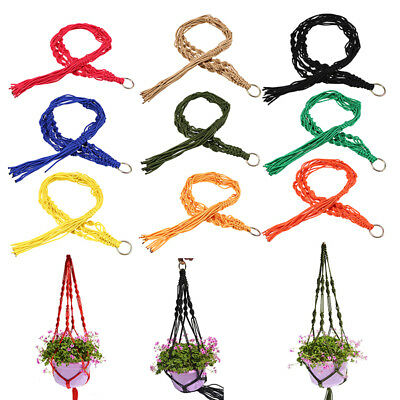 Craft Knotted Macrame Plant Hanger Basket Flowerpot Holder Lifting Rope Decor