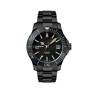 NEW Christopher Ward C60 Trident Pro 600 38mm Diving Watch Black Vintage Auto