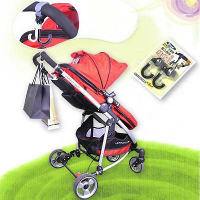 2pcs Baby Pram Stroller Pushchair Swivel Hanger Hooks for Diaper Bag N7