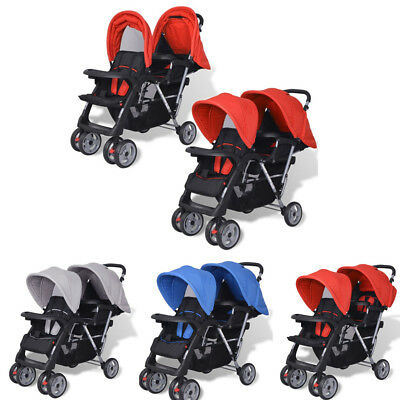 Folding Tandem Stroller Double Pushchair Twin Baby Toddler Pram Buggy Steel