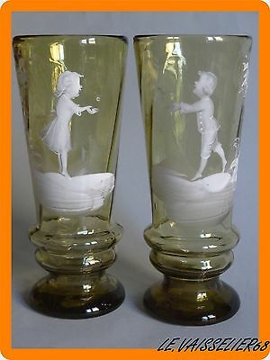 2 Anciens Verres A Biere Style Mary Gregory