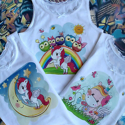 Girls Kids 3 Pack Vests Unicorne Personalised Name  Four Sizes (2/3/4/5) Years