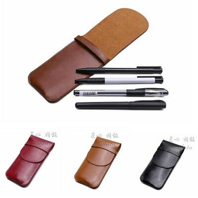 Black PU Leather Pencil Fountain Pen Storage Case Pouch Bag Holder For Pens New