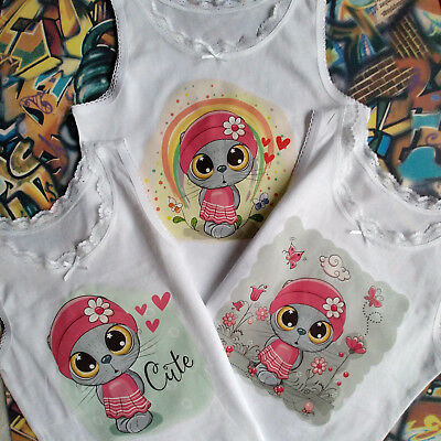 Girls Kids 3 Pack Vests Cute Cat Personalised Name Four Sizes (2/3/4/5) Years