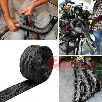 Black 15M*50mm 2000F Exhaust Wrap Heat Resistant +15Pcs Stainless Steel Ties【AU】