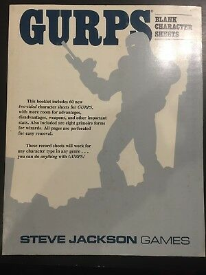 Gurps Blank Character Sheets, Steve Jackson Games