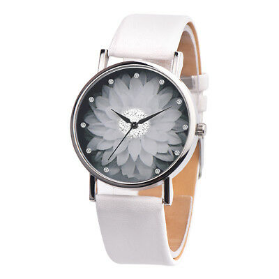 OKTIME Women's Casual Canvas Flower Print Leather Analog Quartz Wrist Watch E948