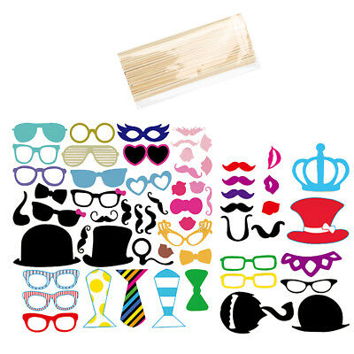 60PCS Masks Photo Booth Props Mustache On A Stick Birthday Wedding Hen Party cck