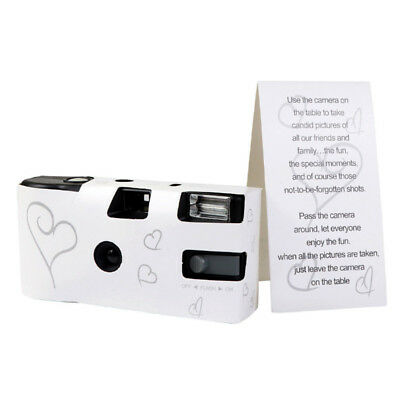 1PC HEARTS DISPOSABLE 36 Film WEDDING Bridal CAMERA WITH FLASH & TABLE CARD GIFT