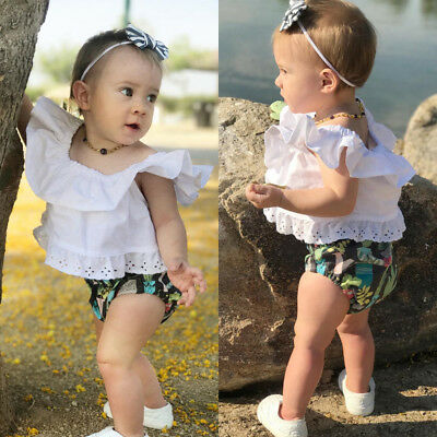 Newborn Baby Kids Girl Lace Tops Off Shoulder Blouse+Floral Shorts Pants Outfits
