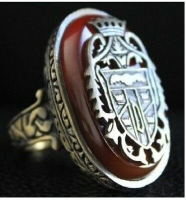 DRACULA Crest RING carnelian bloodstone ANTIQUE GOLD / SILVER