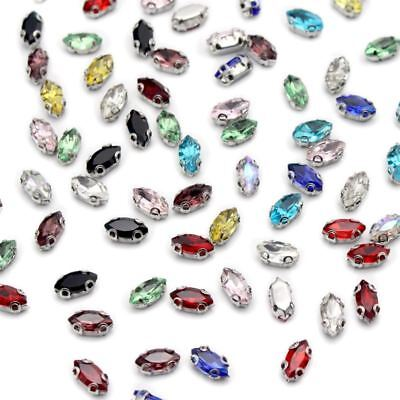 24pcs/50pcs 4*8mm Oval Horse Eye Crystal glass Sew On Rhinestone with Claw apply
