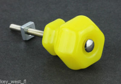"Antique YELLOW  Vintage Glass Knob ~ Drawer Pull Handle { 1 1/4"" Dia. } by PLD"