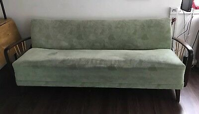 Mid Century Danish 1960s Sofa Wooden Frame sofabed Light Green