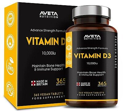 Vitamin D3 10,000iu Maximum Strength 180,365 Made in UK 100% Money Back