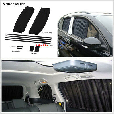 2Pcs 50L Car Side Window Rear Windshield Curtain With 4 Pcs Aluminum Alloy Rails