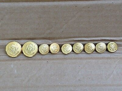 Lot Of 9 Vintage Wwii Era Italian Royal Navy Brass Uniform Buttons 22 & 15 Mm