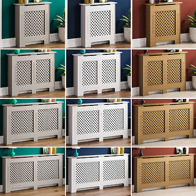 Oxford Radiator Cover White Unfinished Traditional Wood Cross Grill Heat Guard