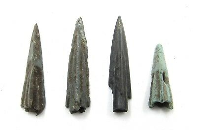 Authentic Lot Of 4 Ancient Scythian Bronze Arrow Heads - E461