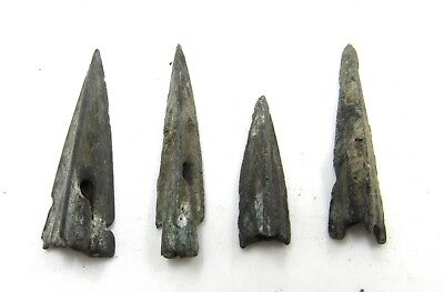 Authentic Lot Of 4 Ancient Scythian Bronze Arrow Heads - E462