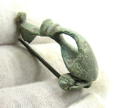 Authentic Ancient Roman Bronze Trumpet Brooch / Fibula - E470