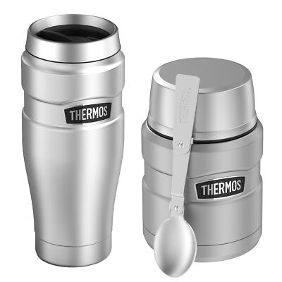 Thermos Vacuum Insulated Stainless Steel Travel Tumbler Mug and Food Jar 16oz