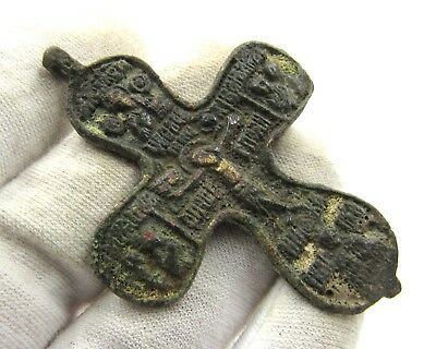 Authentic Medieval Crusaders Era Bronze Cross W/ Jesus Christ - E474