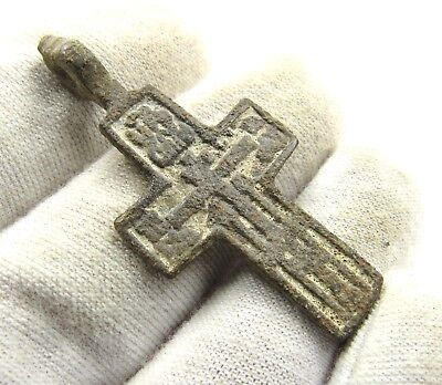 Authentic Medieval / Post Medieval Bronze Cross Pendant - Wearable - E476