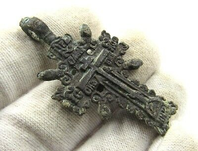 Authentic Medieval / Post Medieval Bronze Radiate Cross Pendant - Wearable E478