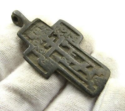Authentic Medieval / Post Medieval Bronze Cross Pendant - Wearable - E480
