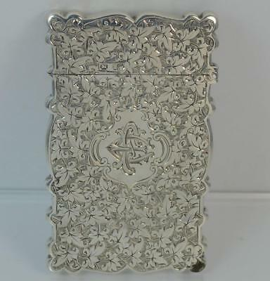 Victorian Solid Silver Hand Engraved Calling / Business Card Case