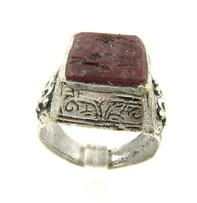 Authentic Post Medieval Silver Ring Intaglio W/ Horse - Wearable - E486