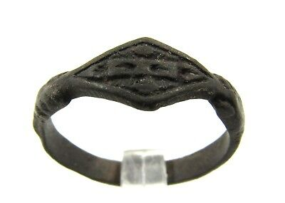 Authentic Late Medieval Bronze Ring W/ Hands Holding Seal - E491