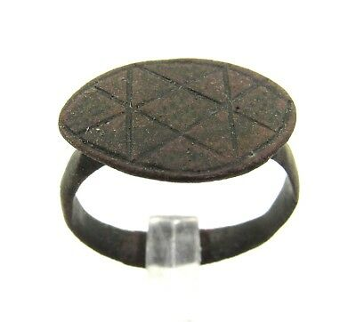 Authentic Ancient Roman Bronze Legionary Ring W/  X Pattern - E493
