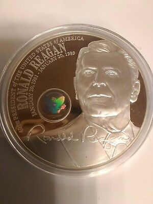 RONALD REGAN Coin Pure .999 Plated American Mint Hologram Heavy 54 gram PROOF