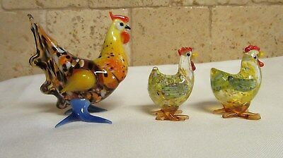Set of 3 Lenox Hand Blown Glass Hen and Rooster Figurines