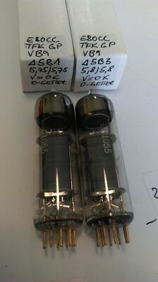 Matched-Pair of Telefunken E80CC 6085 CV5989 Gold Pins nearly the same codes O-G