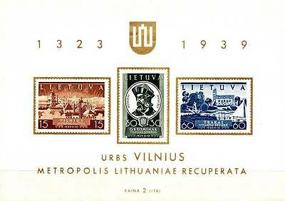 Lithuania 1939 Vilnius Issue S/s Sc# 316A Vf Mnh Architecture