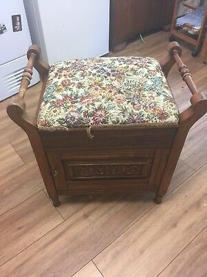 Old Piano Stool, fall front, music storage, shelves, cushioned seat
